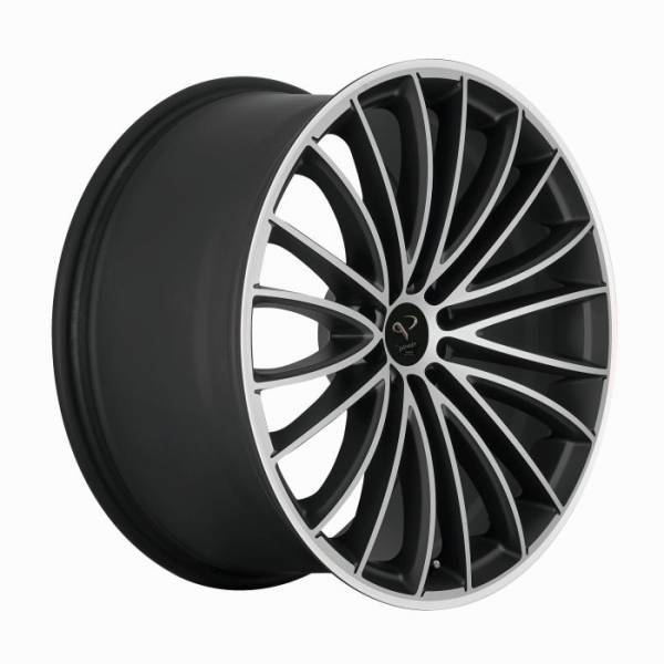 CORSPEED LE MANS Mattblack-polished / Color Trim weiss 8.5x19 5x112 Lochkreis
