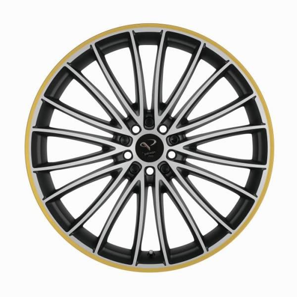 CORSPEED LE MANS Mattblack-polished / Color Trim gelb 8.5x19 5x112 Lochkreis